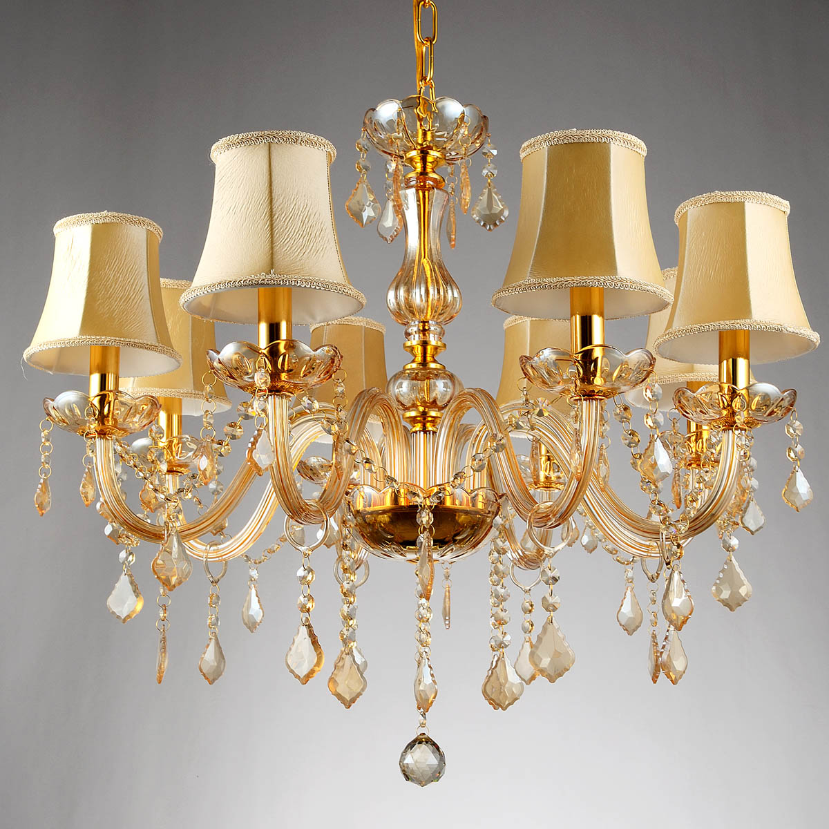Free ship 6/8 Arms Fashion crystal Chandelier lighting Bedroom pendant Chandelier champagne color gold crystal lighting lamps(China (Mainland))