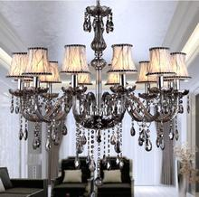 Modern Crystal Chandelier E14 Socket LED Bulb With Abajur Lampshade 10 Head Heather Grey Cheap Crystal Chandelier Lustre Cristal(China (Mainland))