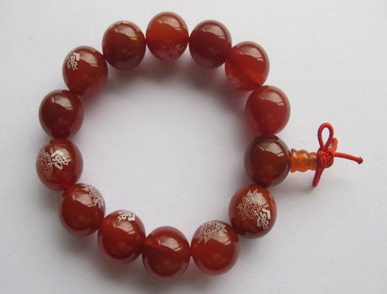 Prayer beads Bracelets.20 strand/lot Red agate 14 mm round fashion jewelry Bracelets.21cm/strand.Free shipping