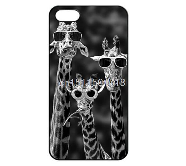 For Iphone 4 4S 5 5S 5C 6 Vintage Sunglass Giraffe Accessories Custom Printed Hard Plastic Mobile Protector Case Cover(China (Mainland))