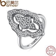 BAMOER 2017 Новая Коллекция Аутентичные Игристое Кружева Потрясающие Кольцо с Ясно CZ Кольцо 100% Стерлингового Серебра 925 Ювелирных Изделий PA7153(China (Mainland))