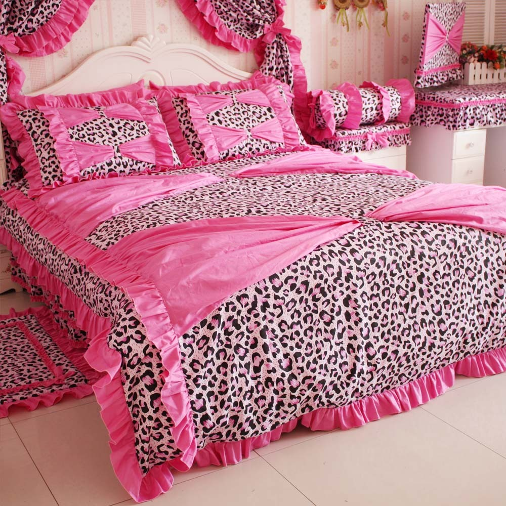 super dream leopard printed bedding set 4 piece set princess comforter bed queen size inbedding. Black Bedroom Furniture Sets. Home Design Ideas