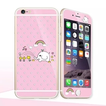 Glow in the dark luminous raised cartoon Tempered Glass film Screen Protector+back cover for iPhone 6 case 6S 6 Plus 6splus