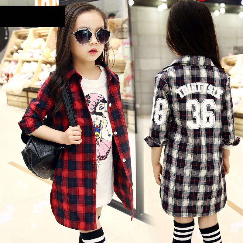 casual big girls font b plaid b font long shirt coats red black gray spring summer