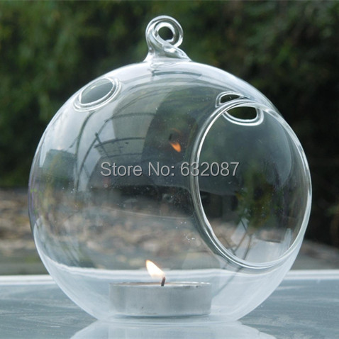 Free Shipping Flat Bottom Glass Terrarium Candle Holder Different Diameters Hanging Glass Globe Home Decorative Candle Holder(China (Mainland))