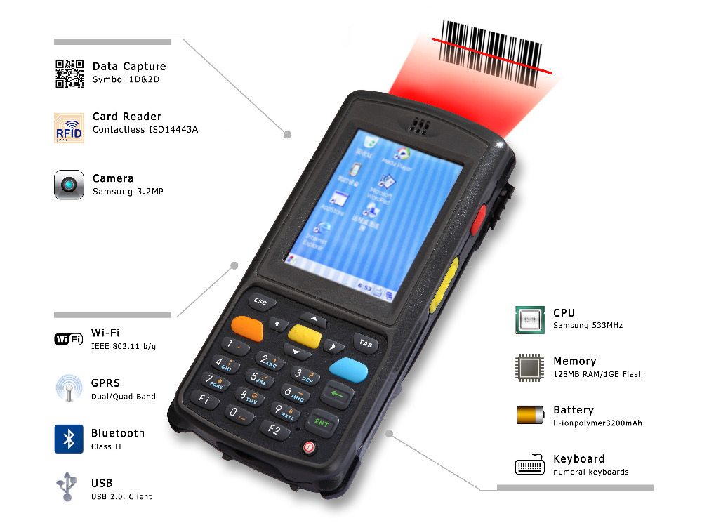 LS2000 industry handheld mobile terminal pda with windows CE os, 2D scanner,wifi,USB(Hong Kong)