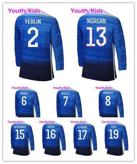 Yoth 2015 2016 Away Blue Long Sleeve Soccer Jersey Futbol Shirts Kids 15/16 Morgan HOWARD YEDLIN DEMPSEY BECKERMAN ALTIDORE ZUSI(China (Mainland))