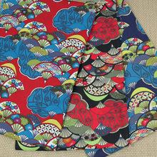 Pretty Japan Kimono Fan Printed Cotton Linen Fabric 50x145cm - YUYING FASHION FABRIC & ACCESSORY CO.,LTD store