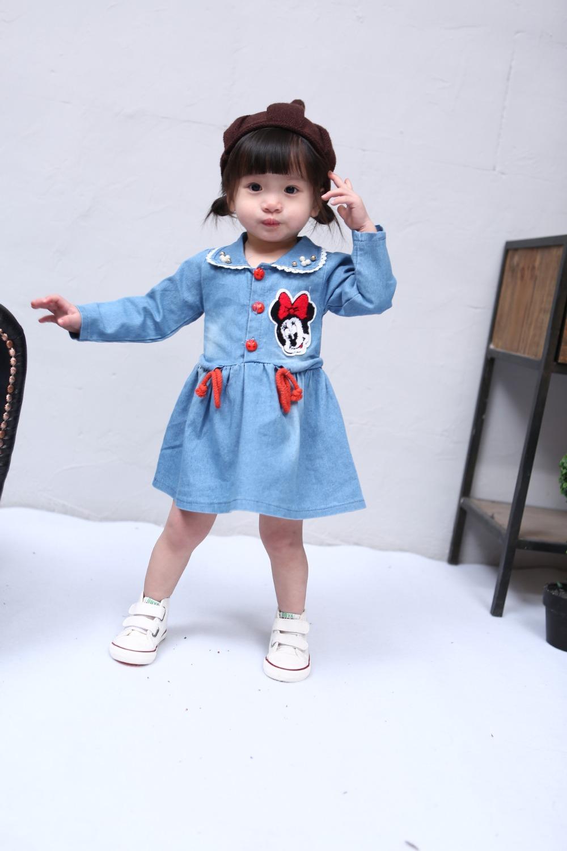 free shipping!2016 girls denim <font><b>frocks</b></font> children clothes spring baby dresses long sleeve baby clothes 1-4 years old baby dresses