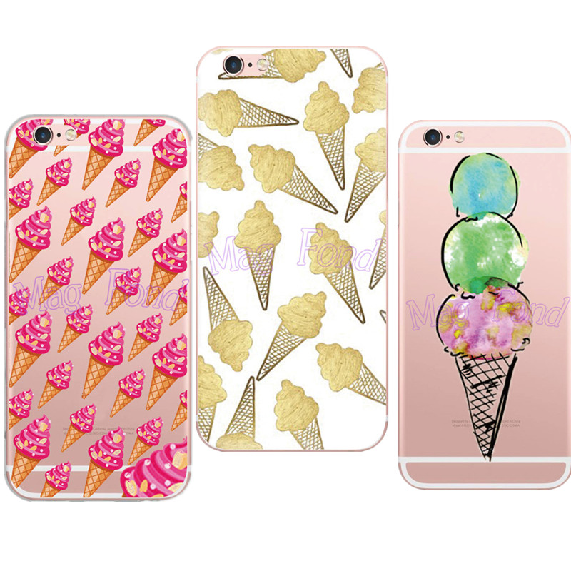 New and High Quality Ice Cream Pink Bling Gillter Phone Case for iphone 5 5s se 6 6s Plus Soft TPU Skin Fundas Clear Capa Shells(China (Mainland))