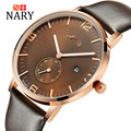 Nary Watches Men Business Fashion Leather Wristwatch Waterproof Watches Quartz Watch Personality Casual Relogio W0848