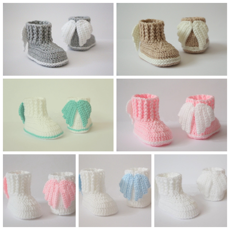Crochet baby booties,Crochet baby shoes,Angel wings boots 7 colors photo prop,baby shower gift Handmade shoes size:9cm,10cm,11cm(China (Mainland))