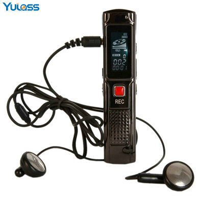 Yulass Mini Digital Voice Recorder Black Rechargeable 8GB Activated USB Audio MP3 WMA Format