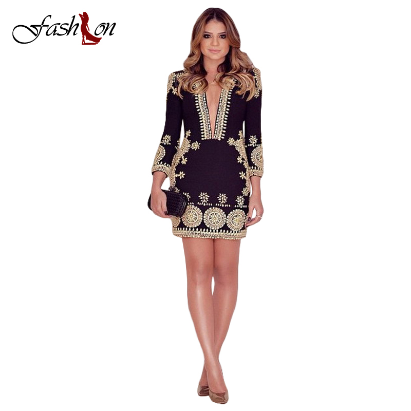 2016 Spring Autumn New Women Sexy Dresses Women Sexy Deep V-neck Long Sleeve Print Floral Show Slim Dress Mini Vestidos CQY(China (Mainland))