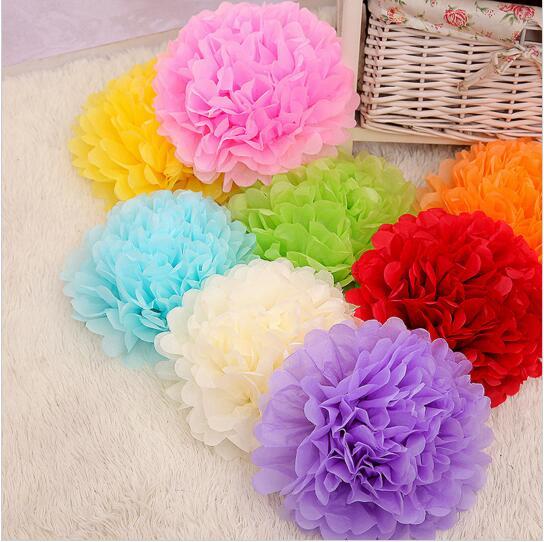 "30pcs 10"" 6"" 8""(25cm 15cm 20cm) Tissue Paper Pompoms Mix Color Flower Balls Wedding Pom Poms Wedding supplies Decoration(China (Mainland))"