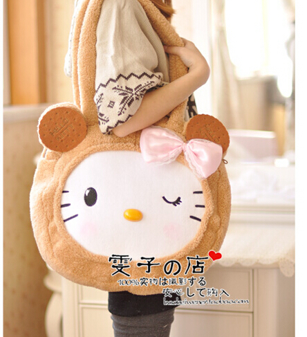 Gift for baby 1pc 45cm cartoon big bowknot cookies hello kitty cat cute soft creative children plush toy shoulder bag(China (Mainland))