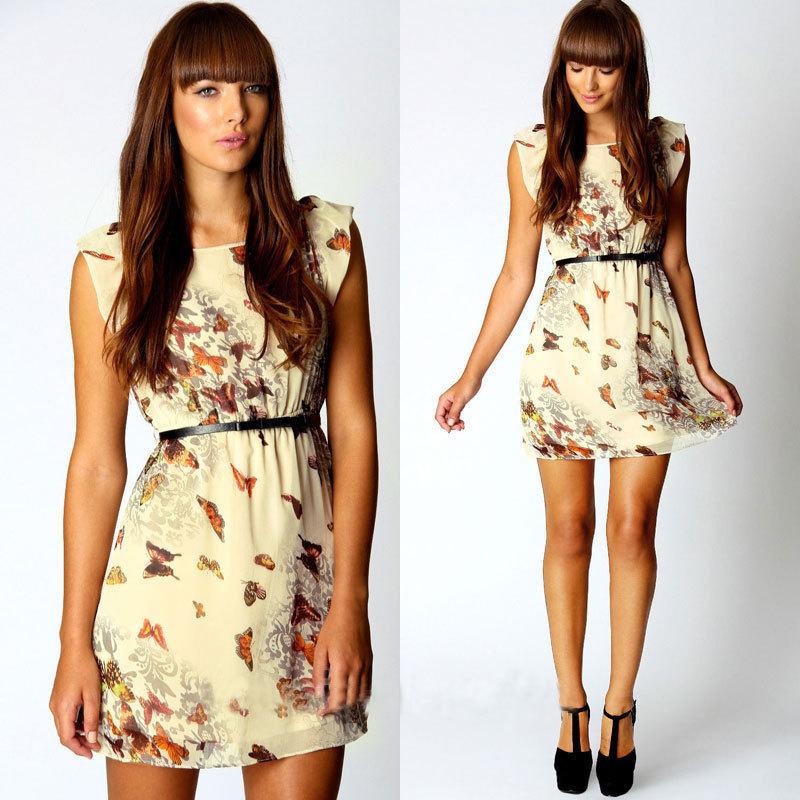 Women Summer Dress 2014 New Style European Brand Fashion Casual Butterfly Flower Chiffon sleeveless print dresses S/M/L/XL 0364(China (Mainland))