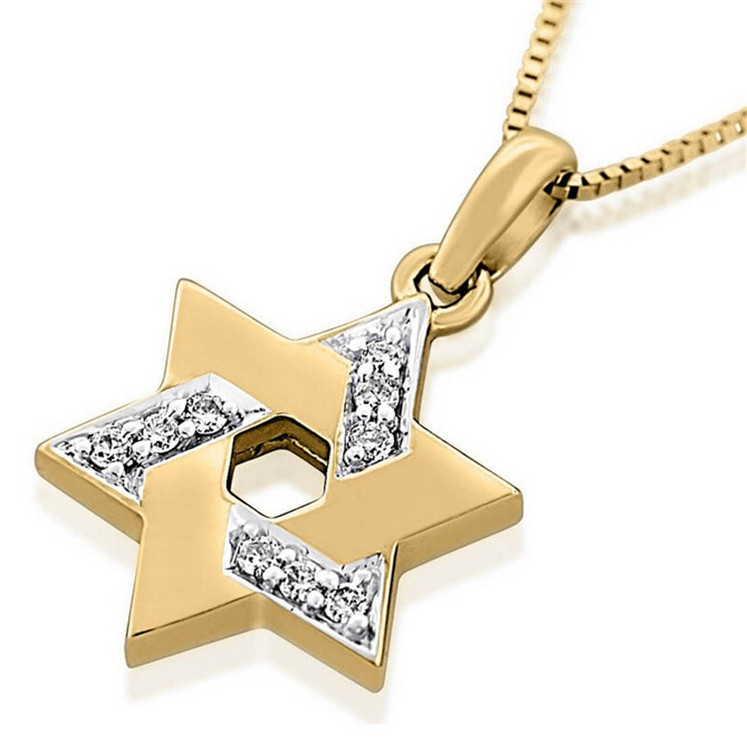 rose gold plated star of david necklace pendants shine
