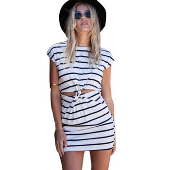 Feitong мода лето женщины свободного покроя черный белый полосатый с коротким рукавом Cut Out витая узел узел джерси мини-платье бесплатная доставка