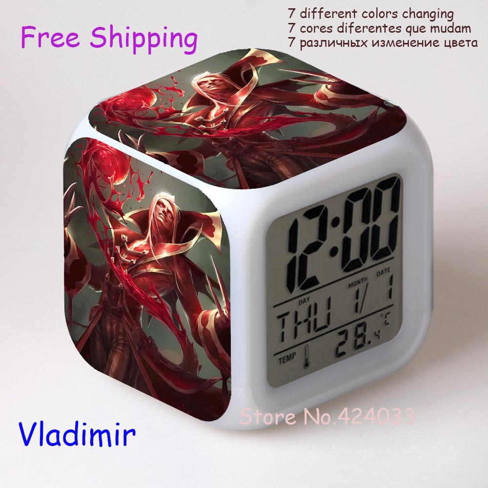Retail Wholesale The Crimson Reaper Vladimir LOL LED Colors Change Digital Alarm Clock relogio digital minions projection clock(China (Mainland))