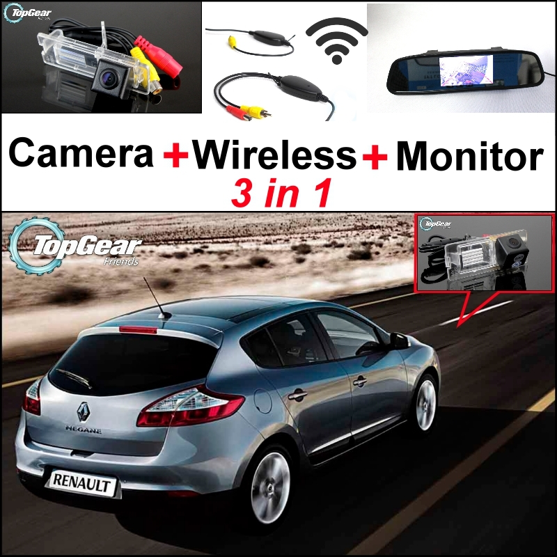 3 in1 Special Rear View Camera + Wireless Receiver + Mirror Monitor DIY Parking System For Renault Megane II III 2 3<br><br>Aliexpress