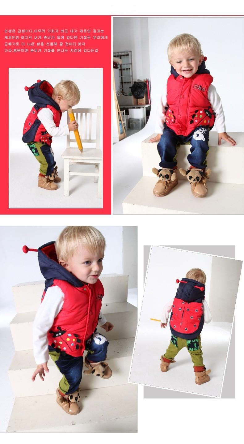 Жилет детей пуховики зимние пальто Дети Одежда мультфильм животных теплое с капюшоном хлопка ребенка мальчиков и девочек в возрасте 2-5 лет