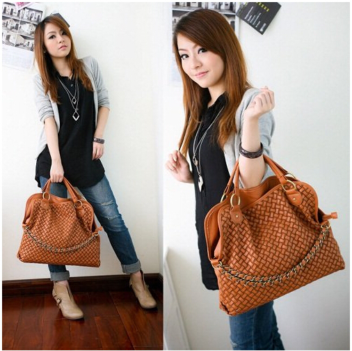 New Hotsale    PU Leather Weaving Handbag  style Lady Hobo  PU Leather bag Polar Shoulder Messenger Bags Wholesale Q046