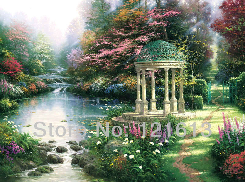 Thomas Kinkade Prints Original Oil Painting The Garden Of Prayer Reproduction On Canvas Pictures On The Wall Art Home Decoration(China (Mainland))
