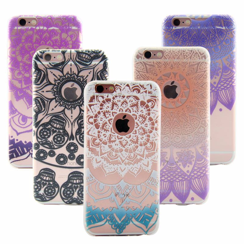 Soft Silicone Cover For iPhone 7 / 7 Plus Case Colorful Floral Paisley Flower Mandala Clear Capinha Coque For iPhone 7 / 7 Plus