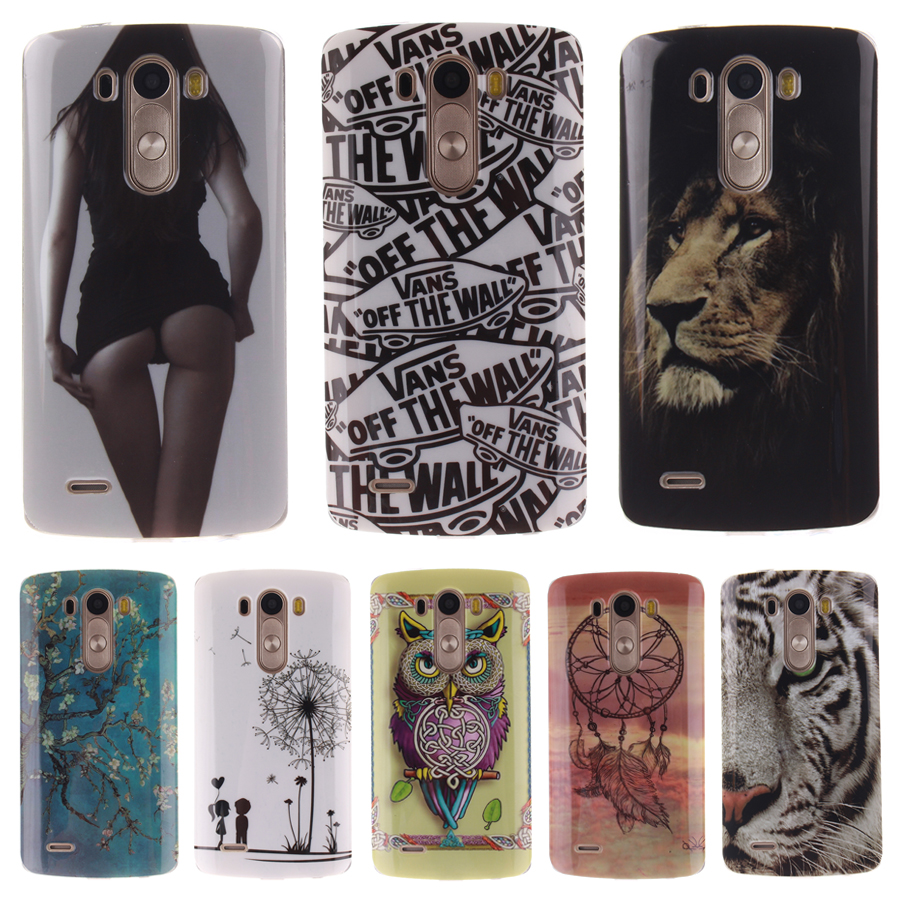 Ultra Slim TPU Soft Phone Case For LG G3 Case Animal Cartoon Cover LG G3 Silicone Case Owl Lion Vans Coque LG G3 Accessories(China (Mainland))