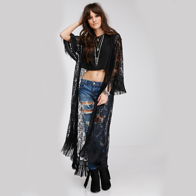 New Black Women Lace Kimono Style Long Sleeve Cardigan Elegant Women Clothing Hollow Out Tassel Ladies Long Blouse