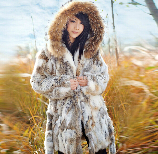 Natural Rabbit Fur Coat With A Raccoon Dog Fur Trim Hood Women Winter Real Rabbit Fur Coat Fashion Fur Outwear AF142(China (Mainland))