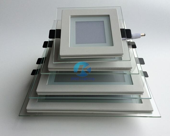 20pcs/lot 6W Led downlights Fixture Square glass anti-fog down light 110-240V Round Led panel Lights Cool Warm White(China (Mainland))
