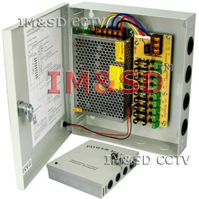 9CH Camera DC12V Output CCTV Power Supply Box w/Fuse 60W 5Amp Output Power, 9 x 1000mA Fused Outlets(China (Mainland))