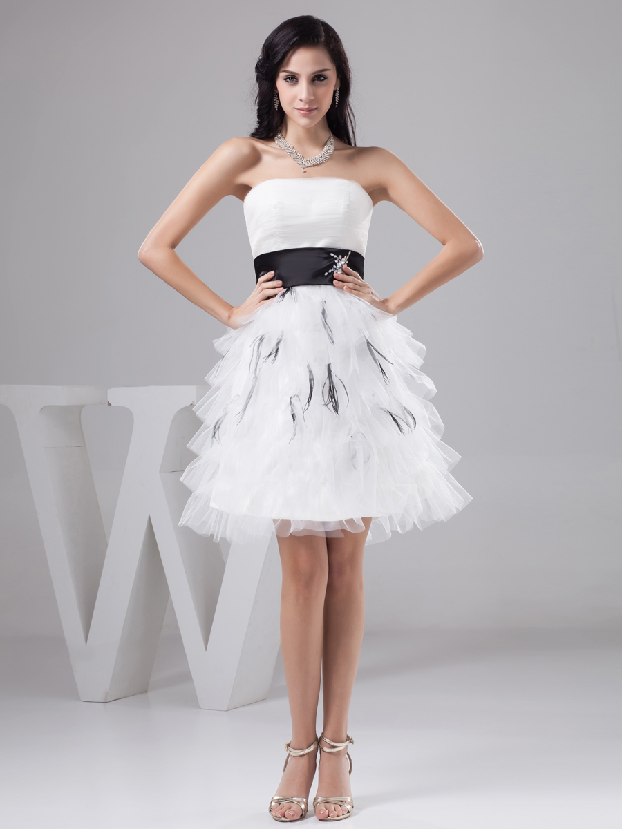 In 8th Grade Graduation Dresses High Low White  Dress images