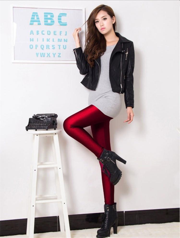 Горячая мода женские люминесцентная эластичный леггинсы утолщаются супер мягкий карандаш брюки 4045