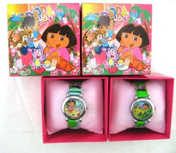 Christmas Gift 12pcs/lot Dora clock watch Wristwatches With + Free Shipping