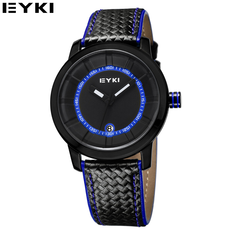 EYKI 2015 Casual Relogio Masculino High Quality Crystal Outdoor Mens Watches Auto Date PU Band Leisure Quartz Man Wristwatch<br><br>Aliexpress
