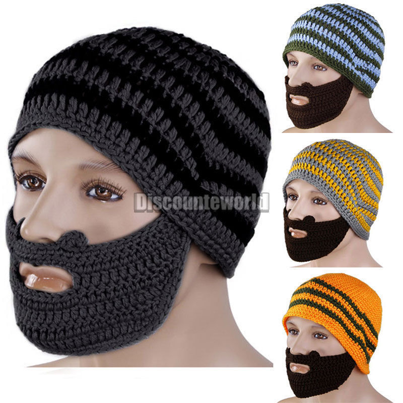 2015 New Unique Winter Mens Womens Knit Face Warmer Beard Moustache Wool Hat Cap beanie For Free christmas pping(China (Mainland))