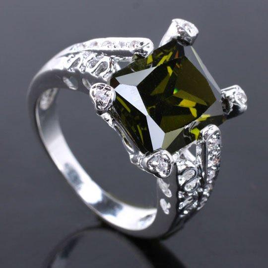 6Pcs WomenS 10X12 Stone Green Peridot 6-Claw Lock Silver Ring Yin Size 6 JV7887 Factory Store<br><br>Aliexpress