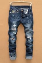 10PCS LP35 free shipping 2015 male straight leg denim trousers men fashion italy brand jeans mens business pants black jeans men(China (Mainland))