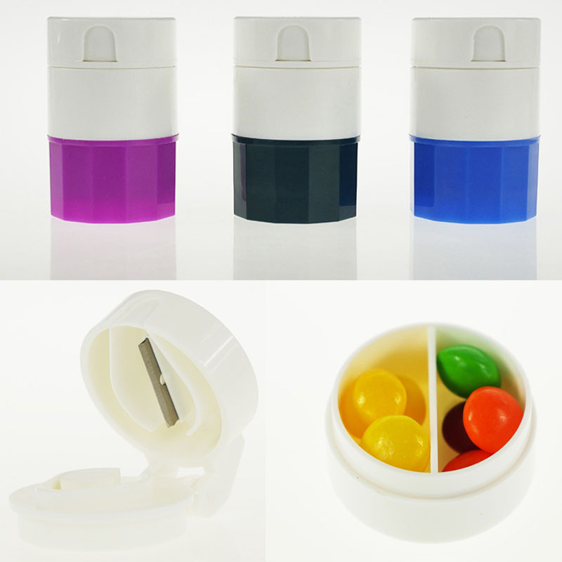 Convenient 4 Layers Pill Crusher Grinder Splitter Divider Cutter Storage Box Cases Brand New(China (Mainland))