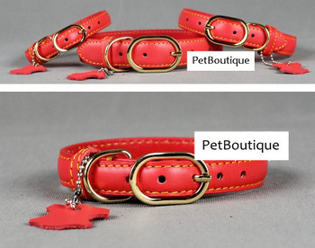 Pure Leather Pet Dog Cat Collar Golden Lock Catch (Red + Black + Coffee Colors) XS S M L Sizes