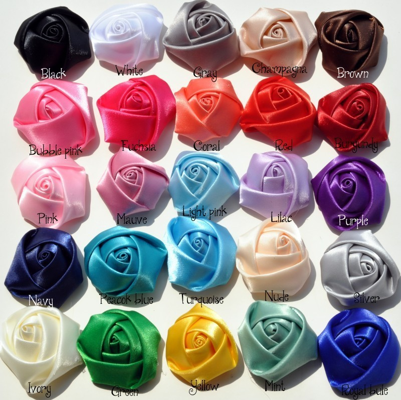 50pcs/lot 4CM Stain Rolled Rosettes Kids Boutique DIY Satin Rose Flowers For Baby Girls Wedding/Hair Accessories(China (Mainland))