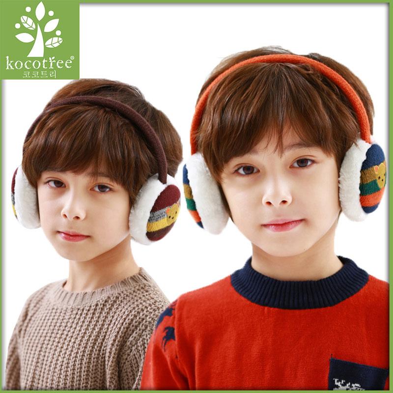 Kocotree winter kids earmuffs knitted thermal cotton warm plush ear muffs unisex bear pattern fashion earflaps washable 2 colors(China (Mainland))