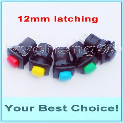 1000pcs/Lot Latching Miniature Push Button Switch,12mm mounting hole (DHL Free Shipping)(China (Mainland))