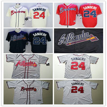 Men's Stitched cheap Grey red Atlanta Braves Throwback Jersey White Navy Cooperstown 24 Deion Sanders Baseball Jerseys(China (Mainland))