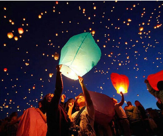 10pcs Hot Sale Multicolors Paper SKY LANTERNS Flying Paper Sky Lanterns Free Shipping Paper Chinese Lanterns(China (Mainland))