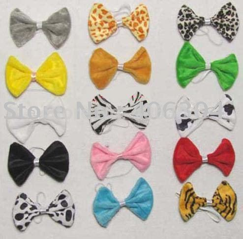 Free shipping ,Children Bow tie ,animal bow ,many colours,short plush,20pcs/lot(China (Mainland))