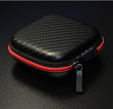 Hard Earphones Bag / Case/ PU Carbon Fiber Zipper Headphones Earphone Hard Case Storage Carrying Pouch Bag SD Card Hold Box